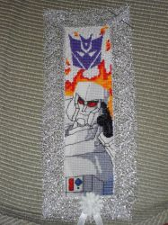 Cross Stitch Bookmark - Megatron by nkfloofiepoof