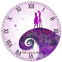 Jack and Sally Watercolor Clock by SilhouettesbyMarie