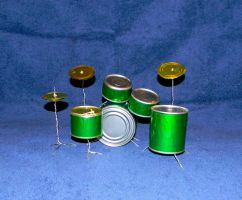 tin can drum set by colormuse