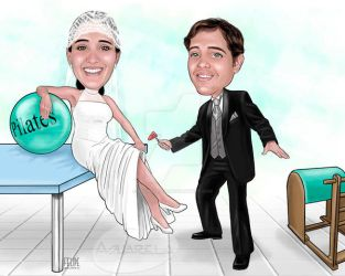 caricature - bridal couple by FelipeBriani