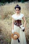 Corseted steampunk lady in field by LillysWorkshop