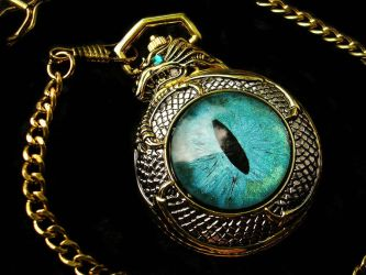 Teal Aqua Dragon Slave Pocket Watch by LadyPirotessa