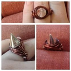 Copper wrapped spike ring by Eve Renee by BackhandBLAM