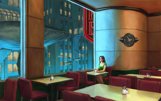 Night Coffee ( Hopper went to Rapture ) by astoralexander