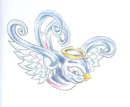 Angel Swallow Colour Tattoo by 2Face-Tattoo