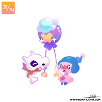 10/20 - Cubone, Mime Jr, and Drifloon! by BonnyJohn