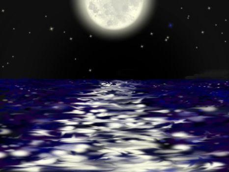 Sea and Moon -without dragon- by pUmpkinhead666