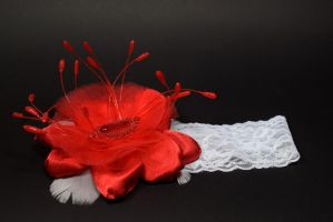 Red flower baby headband (available) by TheBohoCraftsShoppe
