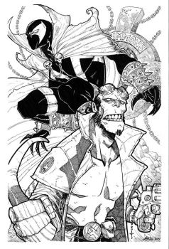 Spawn and Hellboy by Arioanindito