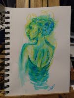 Beautiful Profile in Crayon and Marker by ChimeraDreams