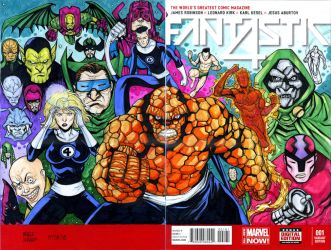 Fantastic Four illustration on a blank cover by mdavidct