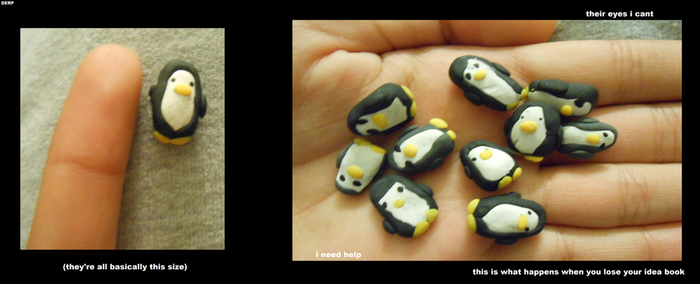 DEFORMED ARMY OF MINI PENGUINS ASSEMBLE by Amy-the-Artisan