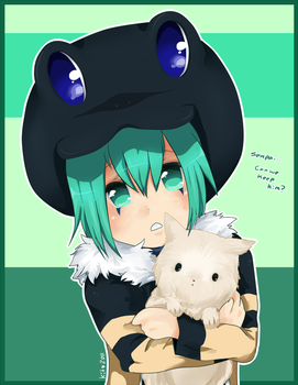 Frog and pup by puddinprincess