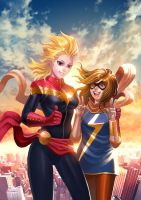 Captain Marvel and Ms Marvel by elaszer