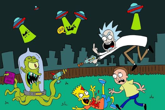 Rick and Morty Vs. The Simpsons by cowtoon