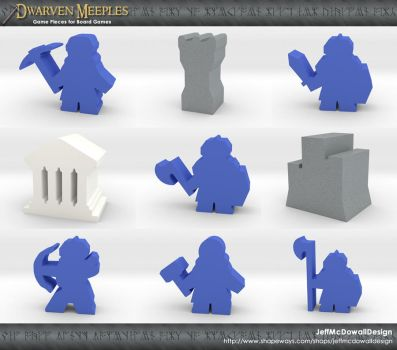 Dwarven Meeple Game Pieces by jeffmcdowalldesign