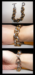 Gold and Silver Chainmail Rope Bracelet by Leadmare
