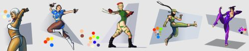 Montage of Street Fighter rough fanart by doktorno