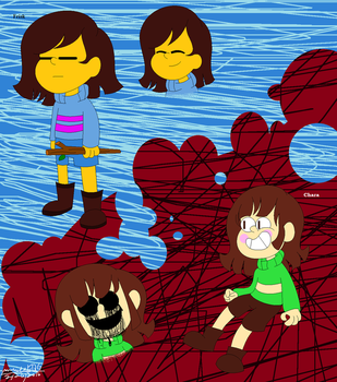 Undertale Chara and Frisk in Gravity Falls Style by MurielliEQG