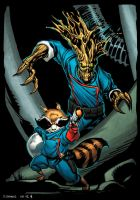 Groot and Rocket Raccoon by spidermanfan2099