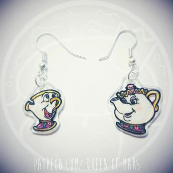 Chip and Mrs. Potts earrings by Hyzave