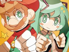 Mario and Hatsune Miku. by Uroad7 by Uroad7