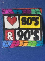 Love 80 90 Logo Art Colorful Design Drawing  by NWeezyBlueStars23