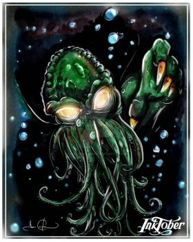 Inktober 2017-10-04: Underwater - Cthulhu by CarterPhotography
