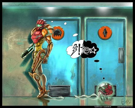 Metroid Bathroom by paperlab