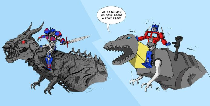 Transformers 4 - Optimus Prime Riding Grimlock by darrenrawlings