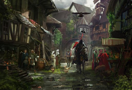 Medieval Town by RhysGriffiths