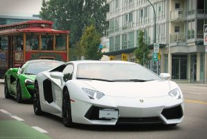 Aventador and Friend by SeanTheCarSpotter