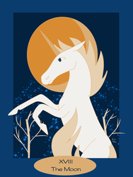 Tarot of the Unicorn: The Moon by RedVioletPanda