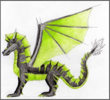 Black and Green Dragon by Cally-Dream