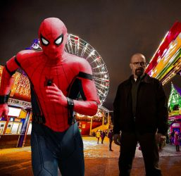 Spider-man, at an amusement Park, escaping danger by Chiracy