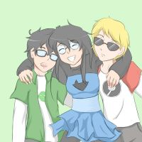 Friends homestuck-John, Jade and Dave by luzelyanauel