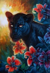 Black leopard lilies by hibbary