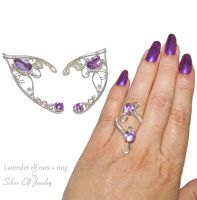 Lavender Elf Ears and ring by Lyriel-MoonShadow