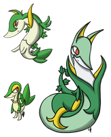 Snivy Evolution Line by yellowy-yellow