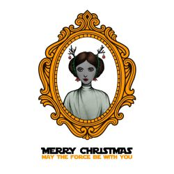Star Wars Princess Leia Christmas Card by spiderlily-studio