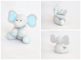 Blue Baby Elephant - Polymer Clay by TheLinnypig