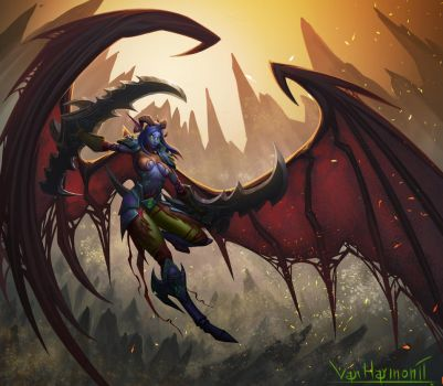 Night elf Demon Hunter by VanHarmontt