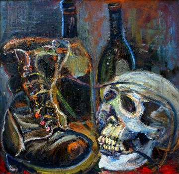 Bottle, Boot and Skull 2 by bombcatdesignco