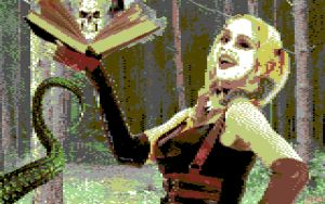 Harley Quinn versus Necronomicon Commodore 64 by EscribaRegio