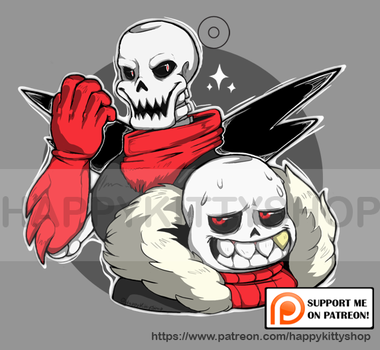 Edgy UnderFell Skelebros Charm by HappyKittyPlushies