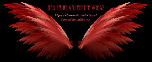Red Fairy Valentine Fractal Wings by mkbrouse