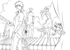 Bleach At The Beach Lineart by l3xxybaby