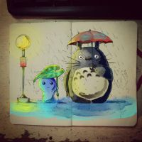 Coloring Totoro by SkyMyths27