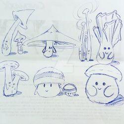 Shrooms sketch by Rhukii