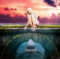 Girl and shark by ccgreghi